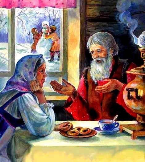 eldre mann og kvinne ved kjøkkenbord. Utenfor vindu er barn som leker i snø